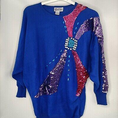 80s Sweatshirts, Sweaters, Vests | Women Vintage 80's womens sweater retro glitter rhinestones $28.96 AT vintagedancer.com
