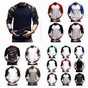 3-4-Sleeve-Plain-T-Shirt-Lot-Baseball-Tee-Raglan-Jersey-Sports-Mens-Tee-S-3XL