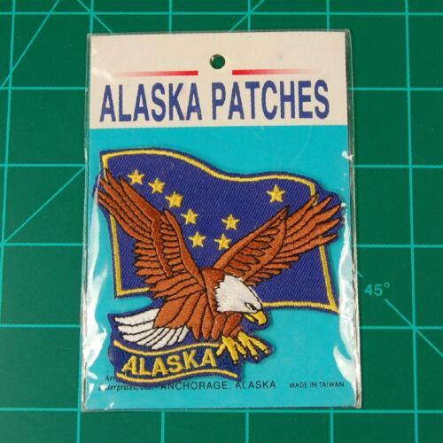 Vintage Alaska AK Flag & Eagle Iron On Souvenir Patch Sealed