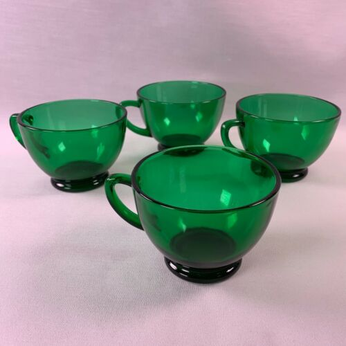 Set of 4 Anchor Hocking Forest Green Punch / Snack Cups