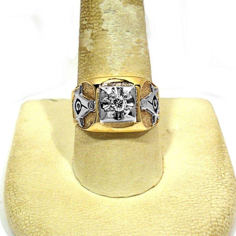 SOLID 10K YELLOW GOLD MASONIC DIAMOND RING ~ SIZE 10 3/4
