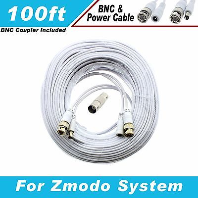 WHITE PREMIUM 100Ft CCTV SURVEILLANCE EXTENSION CABLES FOR ZMODO SYSTEMS