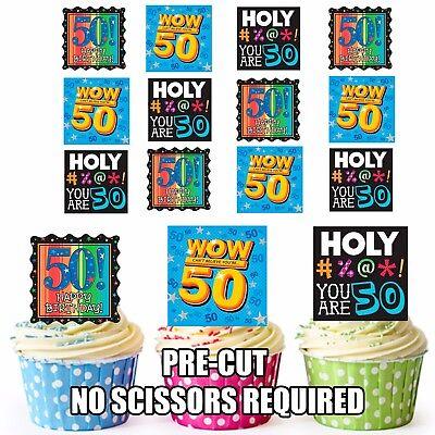 Vorgeschnitten Spaß 50th Birthday 12 Essbare Cupcake Topper Partydekorationen