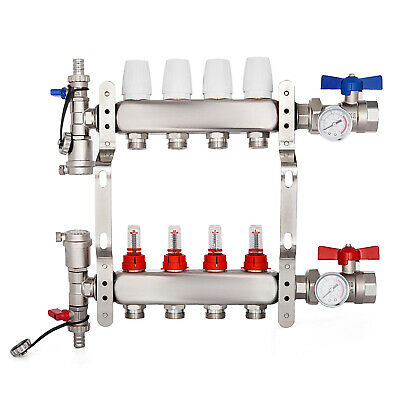 4-branch Pex Radiant Floor Heating Manifold Set - Stainless Steel - For 12 Pex