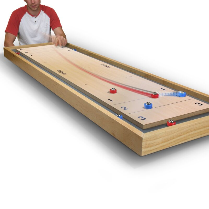 GoSports Shuffleboard and Curling 2 in 1 Bonus Table Top Game w Upgraded Pucks