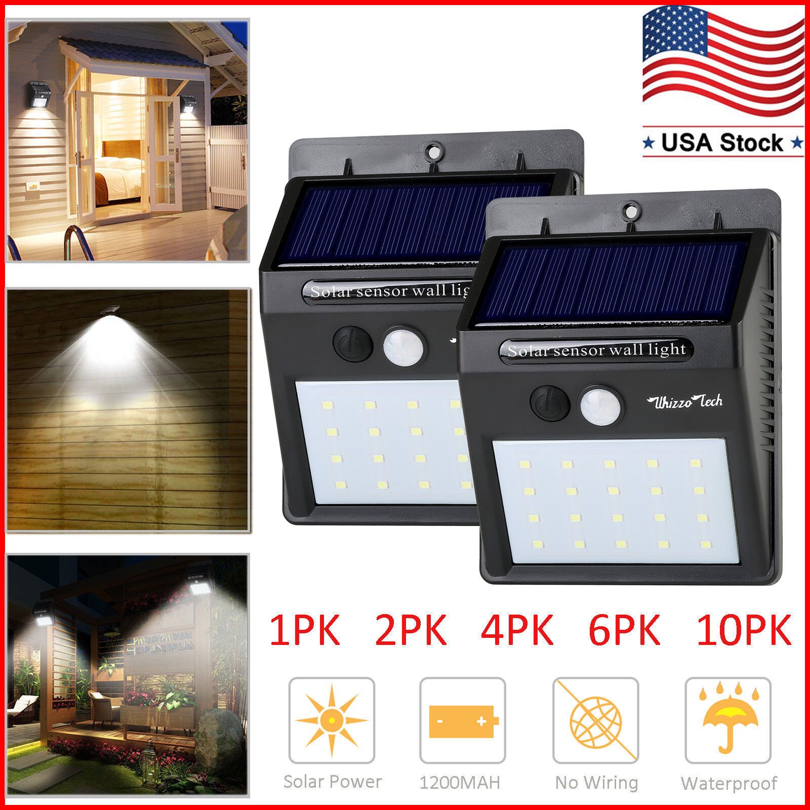 Waterproof 20 LED Solar Lights Motion Sensor Wall Light Outd