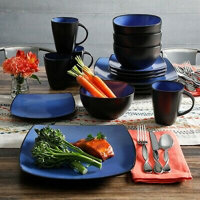 Beautiful 16-Piece Blue And Black Dinnerware Set Round Square Plates Bowls Mugs