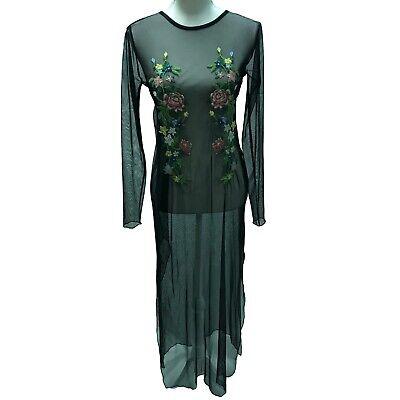 Zara Basic Black Sheer Mesh Floral Embroidered Long Sleeve Bodycon Maxi Dress
