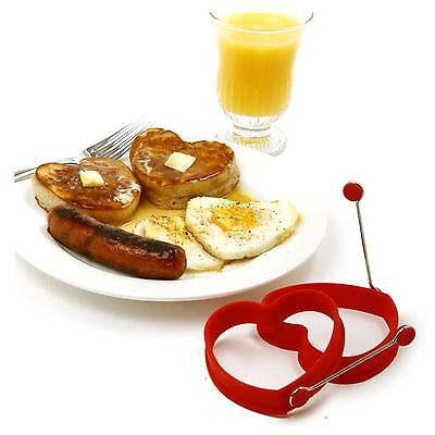 NORPRO 999r RED SILICONE HEART PANCAKE and EGG RINGS 2 piece