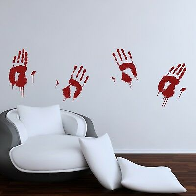 Halloween Party Wall Stickers Decorations Haunted Murder Blood Hand Prints WSDH1 (Home Decorations Halloween)
