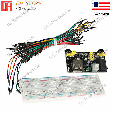 MB-102 Power Supply Module Solderless Breadboard 830 Point 65PCS Jumper Cable US