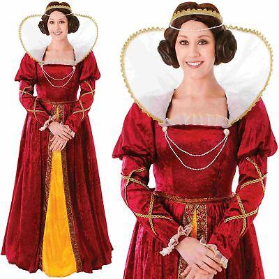 h Costume Tudor Medieval Ladies Womens Fancy Dress Outfit (Queen Elizabeth Kostüme)