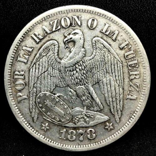 REPUBLIC CHILE 1878 SO (25 GRAM) UN (1) PESO  0.900 SILVER COIN  KM# 142.1. #1