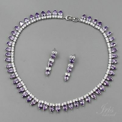 White Gold Plated Amethyst Purple Cubic Zirconia Necklace Earrings Jewelry Set -