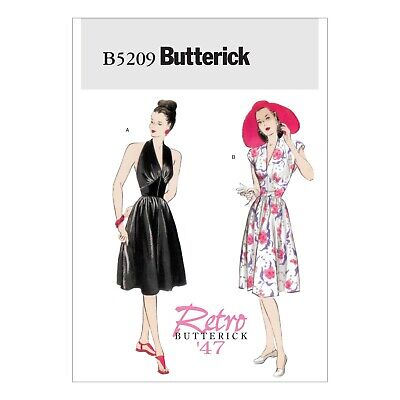 Retro sewing pattern, 50s 40s halter neck dress, size 6 - 20 vintage style B5209 50's Style Retro Neck