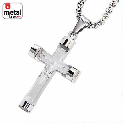 Stainless Steel Silver Tone Jesus Cross Pendant Chain Necklace Set SCP 138 S