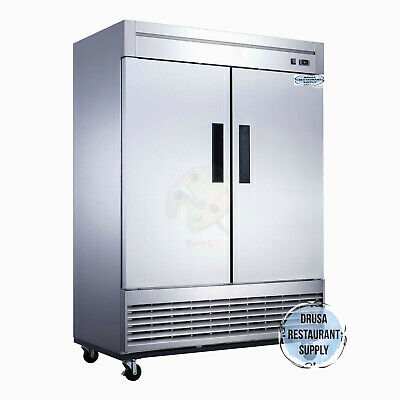 New 2 Door Reach In Refrigerator Cooler Stainless Drusa D55r Nsf 2025 Solid