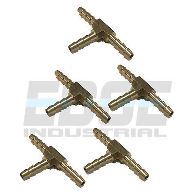 5 Pieces 18 Hose Barb Tee Brass Pipe 3 Way T Fitting Thread Gas Fuel Water