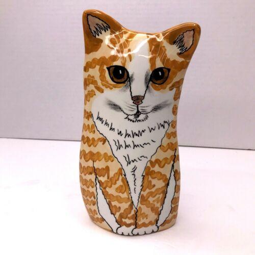 Cats by Nina Lyman Orange Tabby Cat Vase Ceramic Art Sculpture Hand Painted