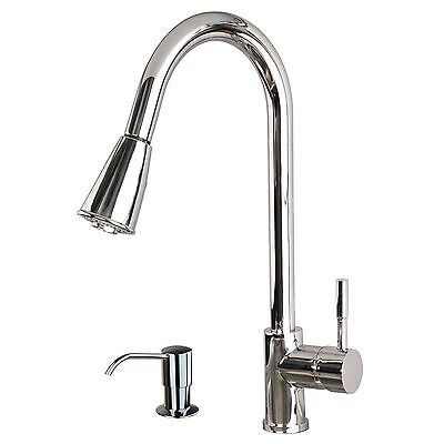 """Contemporary 16"""" Pull-Down Spray Kitchen Sink Faucet with Soap Dispenser Chrome"""