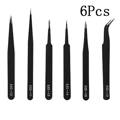 6X Professional Coated Precision Tweezers Set Stainless Steel Non Magnet  Airfix