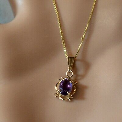 9 ct GOLD second hand amethyst pendant & curb chain