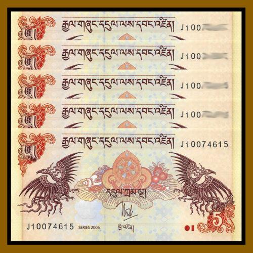 Bhutan 5 Ngultrum x 5 Pcs, 2006-2015 P-28 Unc