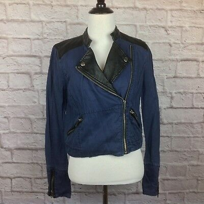Free People Moto Jacket Women 2 Blue Linen Blend Black Faux Leather Zip Pockets