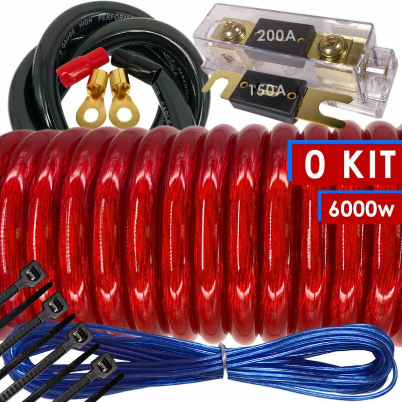 6000W SX 0 Gauge Amp Kit Amplifier Install Wiring HOT 0 Ga Car Wires Red