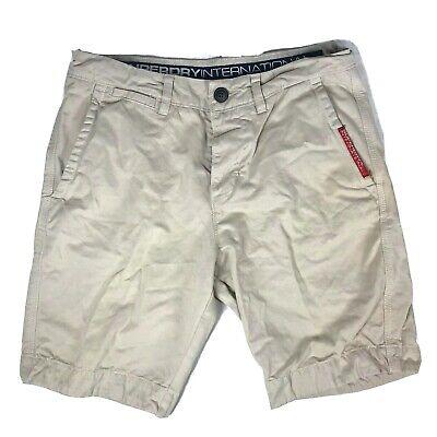 Superdry International Flat Front Khaki Shorts Mens Size Medium 32 Inches