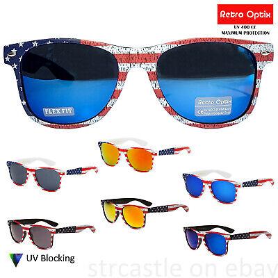 USA American Flag Mirror Sunglasses Stars Patriot Retro Vintage Wayfare July (80s Wayfarer Sunglasses)