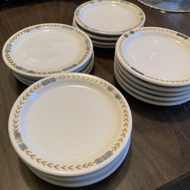"LOT of 8 SHENANGO China Restaurant Ware Gold Laurel & Greek Key 5&1/2"" Plates"