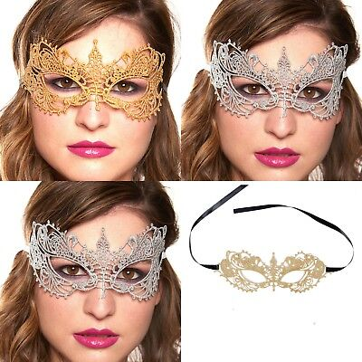 New Gold Silver LACE Masquerade Eye Mask Gothic Fancy Dress Hen Party Halloween (Gothic Masquerade Dresses)