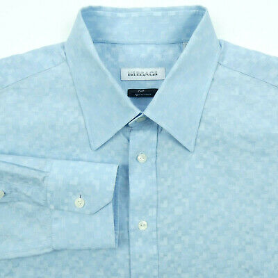 VERSACE COLLECTION CITY Dress Shirt Mens 47 19 Luxury Textured Cotton Blend Blue