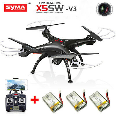 SYMA X5SW-V3 WiFi FPV 2.4Ghz RC Quadcopter Drone HD Camera RTF Black+3 Batteries