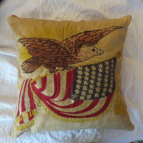 ANTIQUE PILLOW - 19C PATRIOTIC EAGLE  US FLAG EMBROIDERED - EXCEPTIONAL