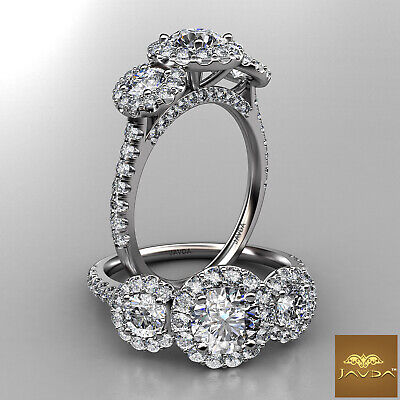 3 Stone Halo Round Natural Diamond Engagement French Pave Ring GIA E VS1 1.50 Ct