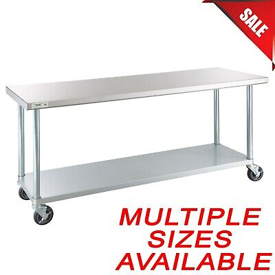 Pick Size Mobile Stainless Steel Commercial Work Table Undershelf Casters Wheels