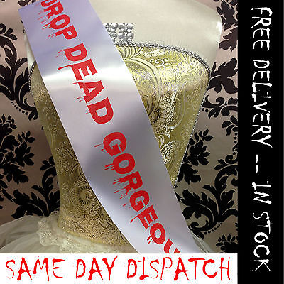 DROP DEAD GORGEOUS SASH - Halloween Fancy Dress Outfit / Cheap Halloween Costume