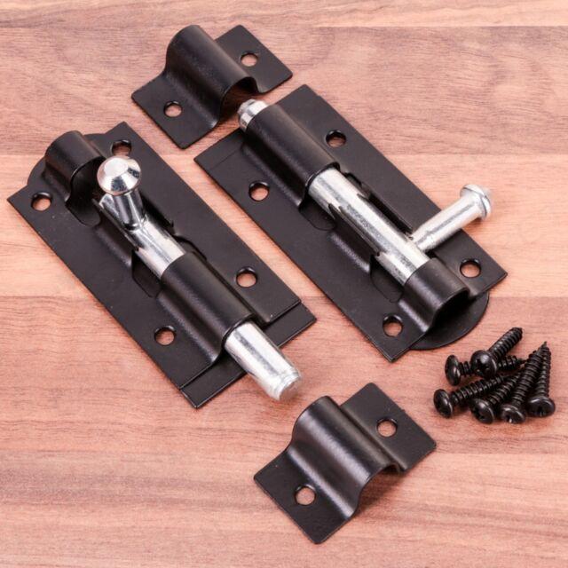 """2 x SMALL 3"""" BLACK SLIDE BOLT Heavy Duty Steel Garden Gate/Shed Door Latch Lock"""