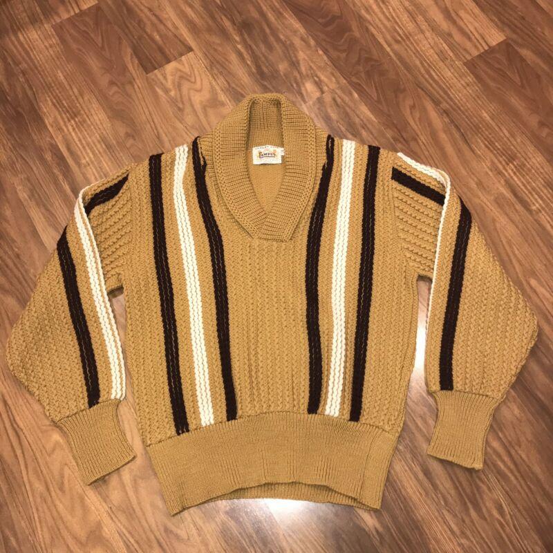 Vtg 50s 60s CAMPUS Luxury Line Shawl Sweater Shirt WOOL Mid Century Mens MEDIUM