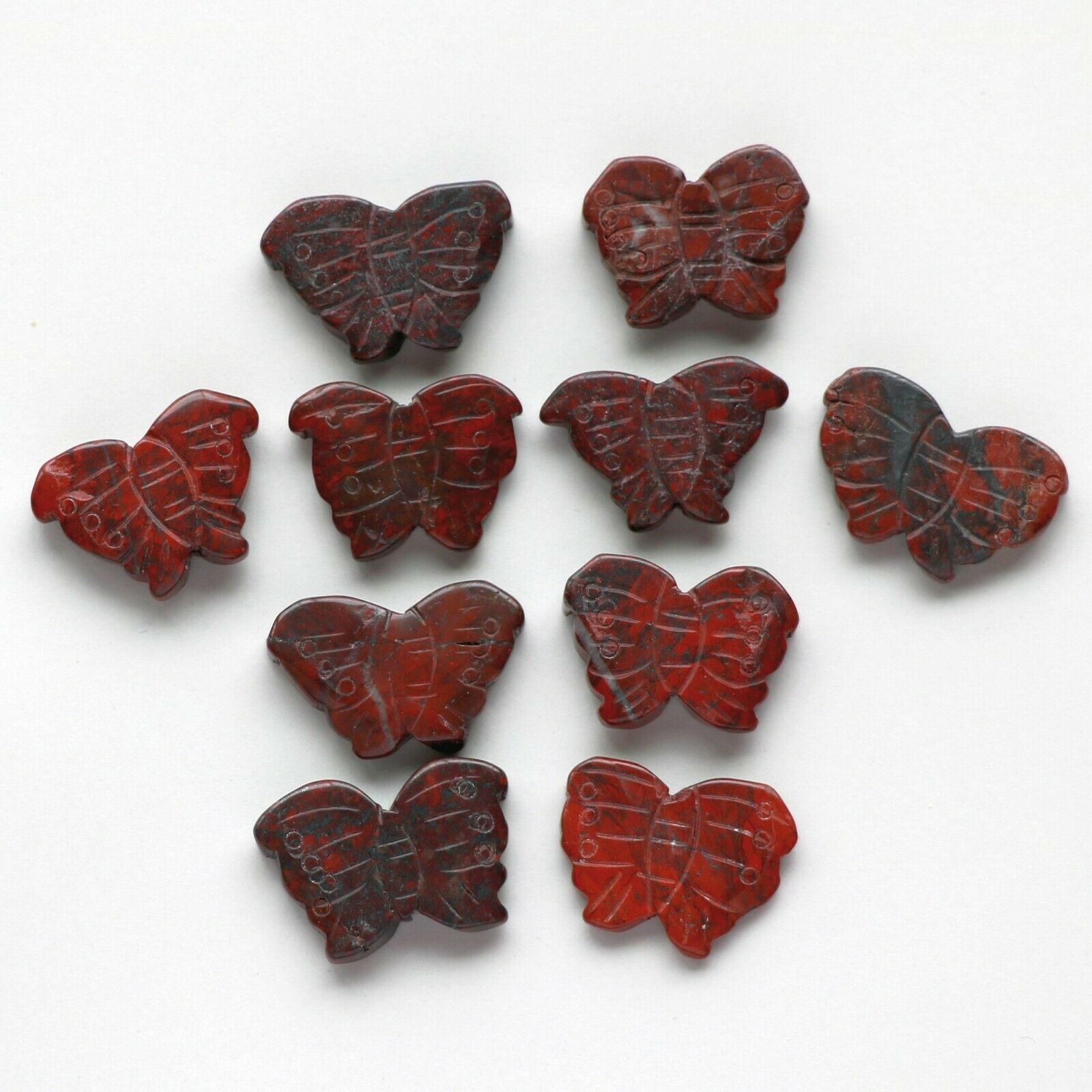 Lot Of 15 Natural Brecciated Jasper Carved Butterfly Pendant Focal Beads - $4.95