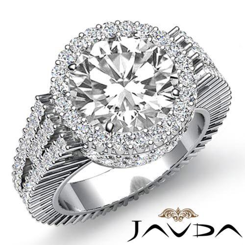 3.5ct Round Cut Diamond Halo Prong Set Engagement Ring GIA F VS2 14k White Gold