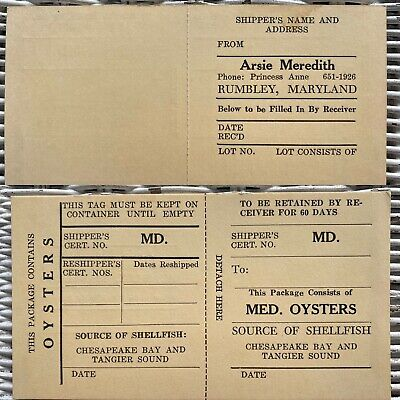 Vintage Oyster Shipping Tag Arsie Meredith Rumbley MD Not Tin Chesapeake Tangier