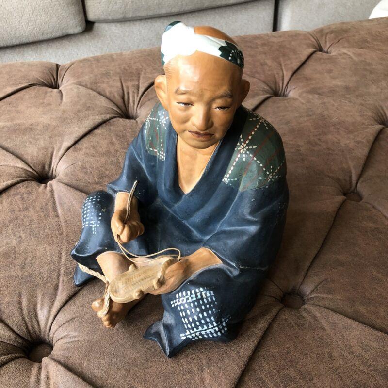 "Hakata Urasaki Japanese Clay Figurine/Doll Sitting Shoemaker Man Large 9"""