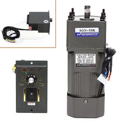 90w 110v Ac Gear Motor Electric Motor Variable Speed Controller 150 0-27rpm