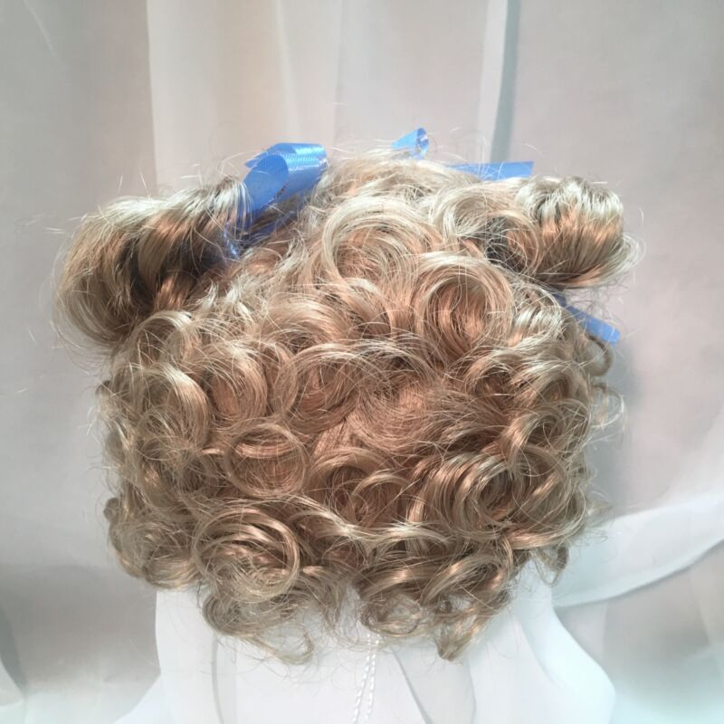 """12/13"""" Curly Ponytails Bows BlondDoll Wig Reborn OOAK BJD Bisque Repair VICKIE"""