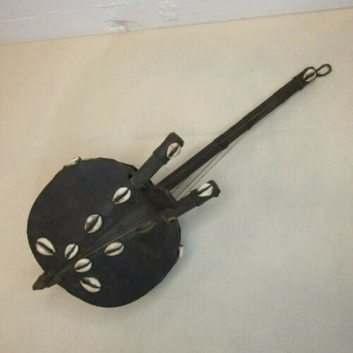 Vtg Aftrican Art Kora Lute 6 String Instrument Gourd Leather Cowrie Shells MP217