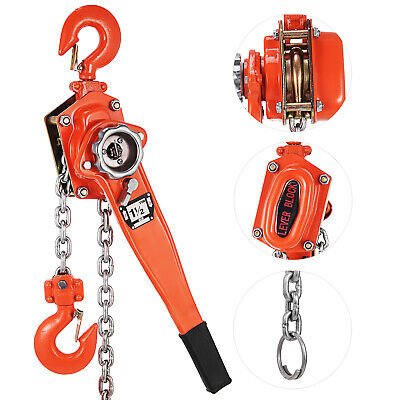 1-12ton 10ft Ratcheting Lever Block Chain Hoist Come Along Puller Pulley Safe