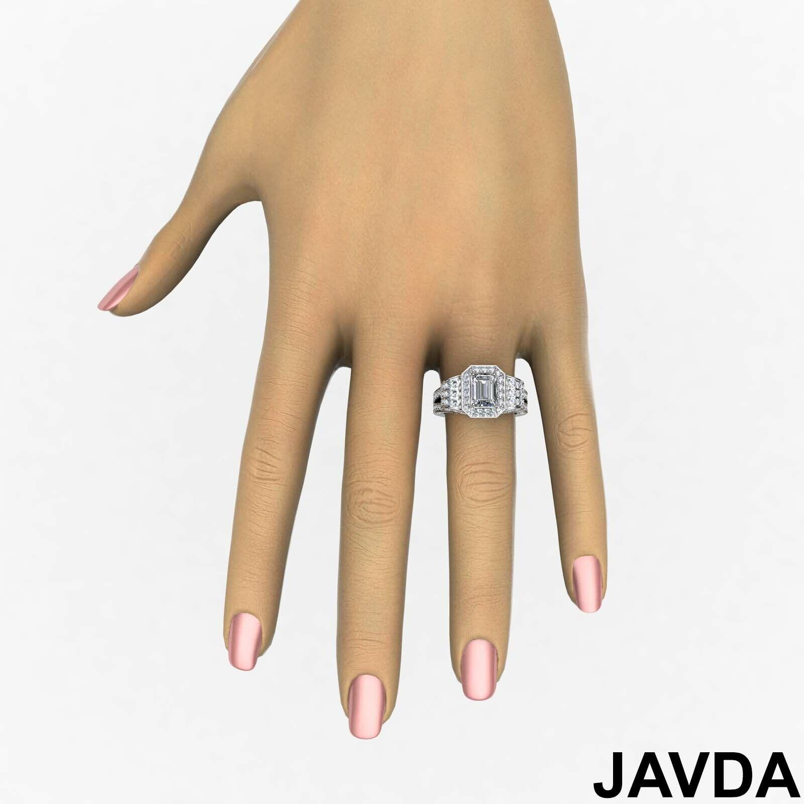 4.4ctw Antique Vintage Halo Emerald Diamond Engagement Ring GIA I-VS1 White Gold 3